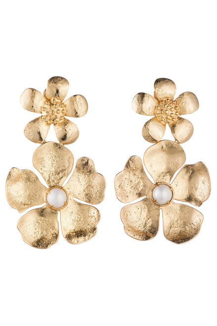 Josie Natori Gold Brass Double Peony Earrings With Pearl at The Natori Company