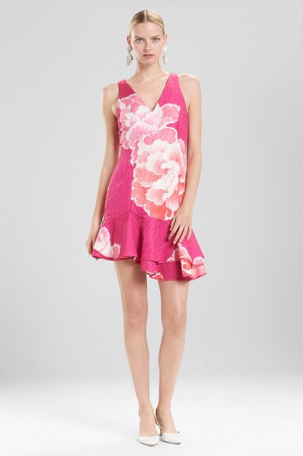 Buy Josie Natori Peony Jacquard Ruffle Hem Dress from