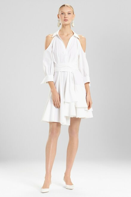 Buy Josie Natori Cotton Poplin Cold Shoulder Dress from