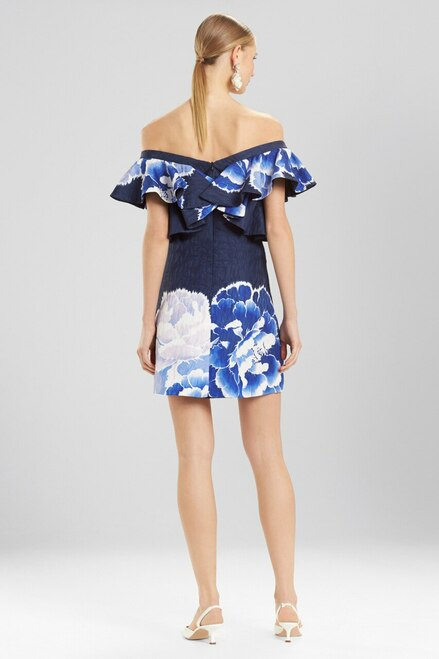 Josie Natori Peony Jacquard Cold Shoulder Dress at The Natori Company