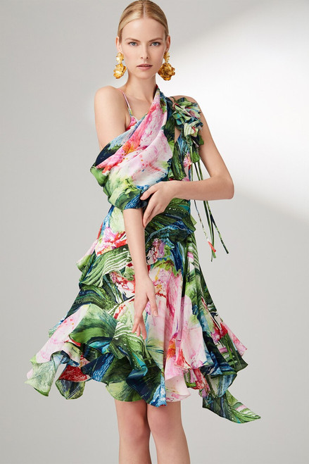 Josie Natori Sunset Palms Ruffle Slip Dress at The Natori Company