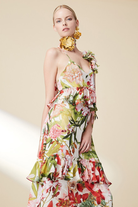 Josie Natori Paradise Floral Tiered Maxi Dress at The Natori Company