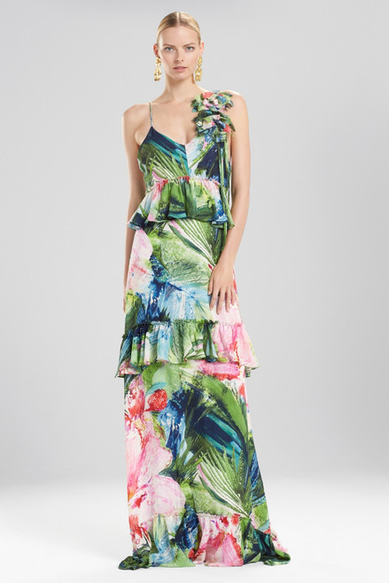 Josie Natori Sunset Palms Tiered Maxi Dress With Corsage at The Natori Company