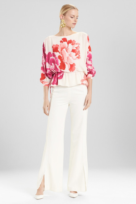 Josie Natori Peony Poet Sleeve Top at The Natori Company