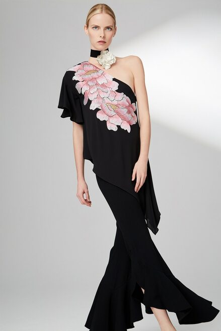 Josie Natori Silky Soft Waterfall Top With Embroidery at The Natori Company