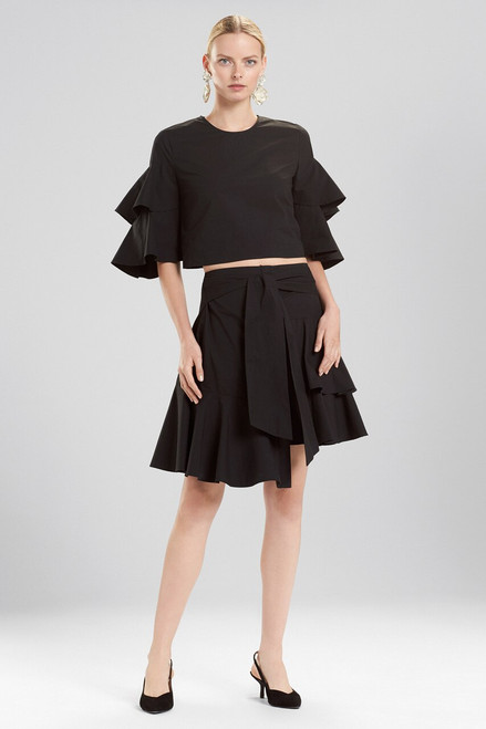 Josie Natori Cotton Poplin Tiered Sleeve Top at The Natori Company