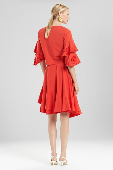 Josie Natori Cotton Poplin Tiered Sleeve Top With Embroidery at The Natori Company