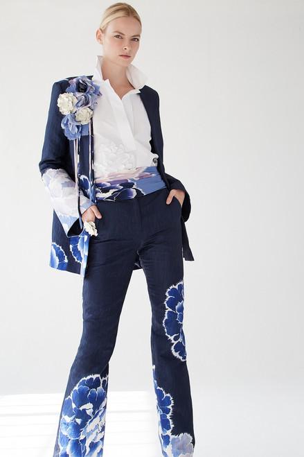 Josie Natori Cotton Poplin Collared Top With Embroidery at The Natori Company