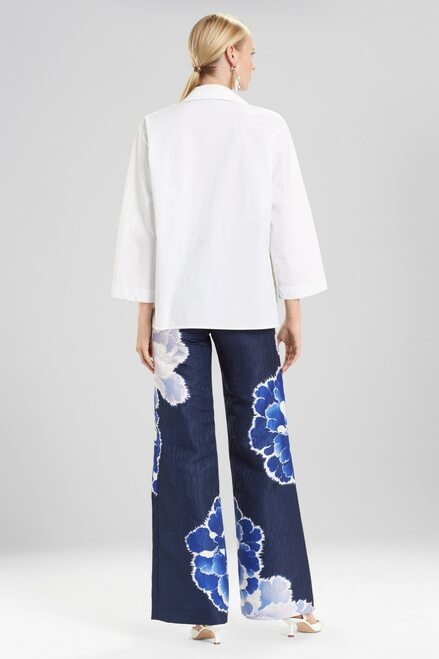 Josie Natori Cotton Poplin Collared Top With Embroidery at The Natori Company