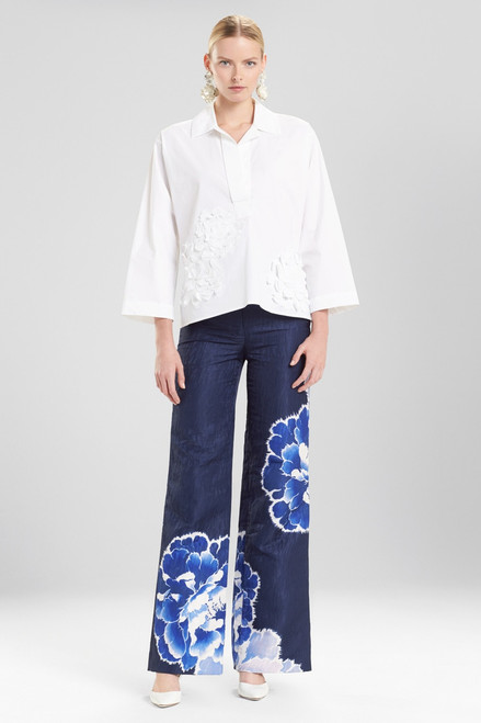 Buy Josie Natori Cotton Poplin Collared Top With Embroidery from