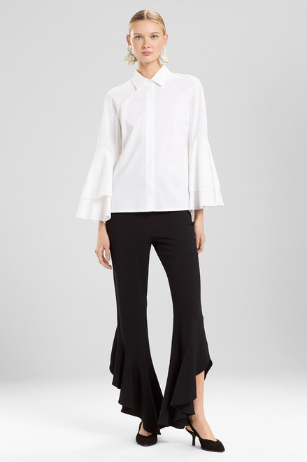 Buy Josie Natori Cotton Poplin 3/4 Sleeve Collared Top from