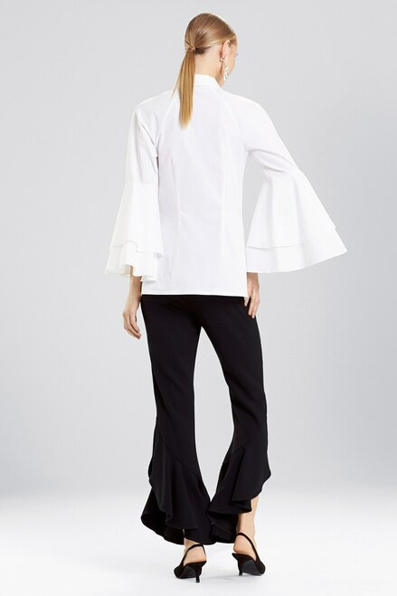 Josie Natori Cotton Poplin 3/4 Sleeve Collared Top at The Natori Company