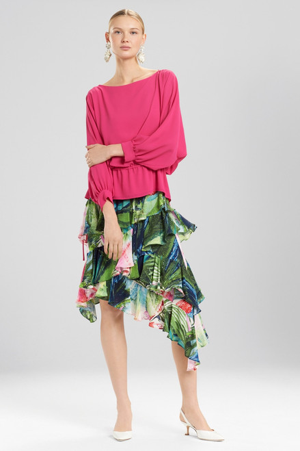 Josie Natori Silky Soft Poet Sleeve Top at The Natori Company