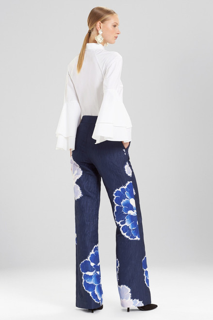 Josie Natori Peony Jacquard Wide Leg Pants at The Natori Company