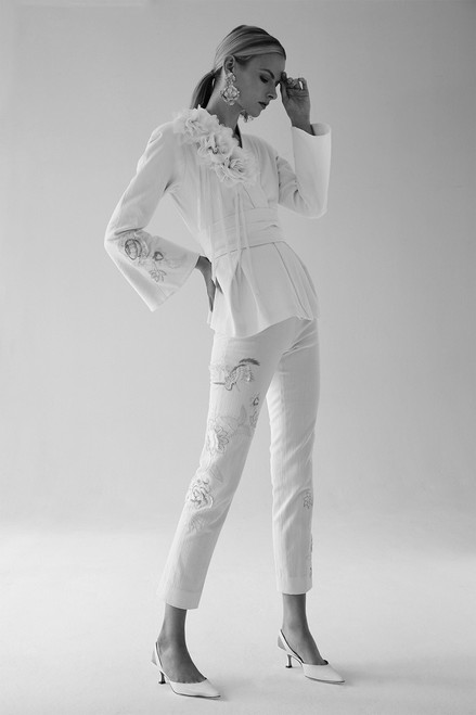 Josie Natori Denim Ankle Pants With Embroidery at The Natori Company