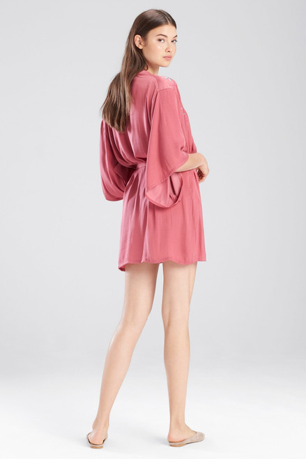 Josie Bardot Satin Boho Embroidery Robe at The Natori Company