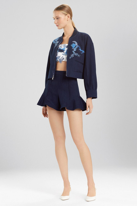 Josie Natori Denim Embroidered Bomber Jacket  at The Natori Company