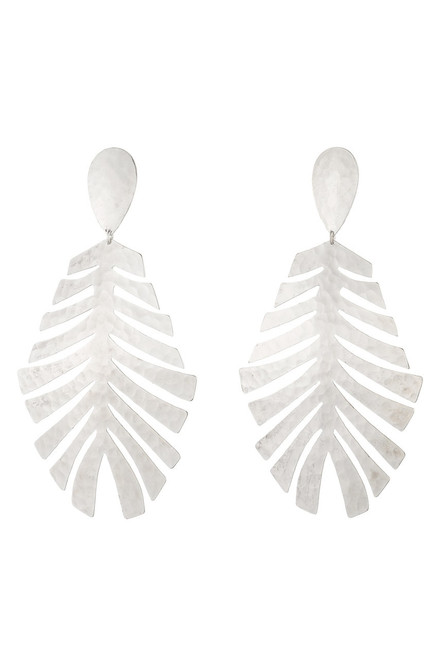 Buy Josie Natori Buffed Brass Leaf Earrings  from