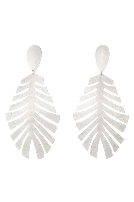 Josie Natori Buffed Brass Leaf Earrings  at The Natori Company