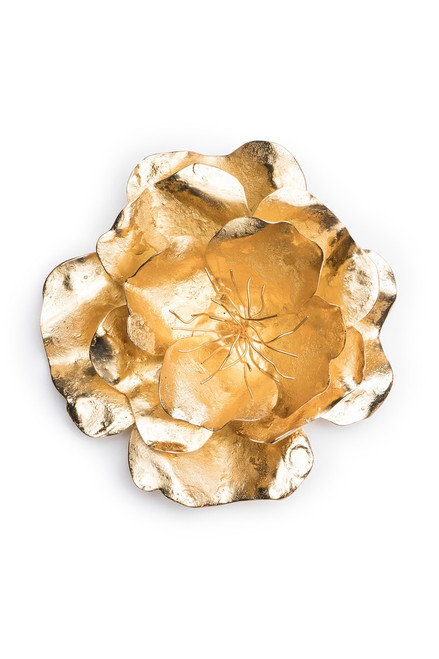 Josie Natori Gold Plated Brass Medium Peony Brooch  at The Natori Company
