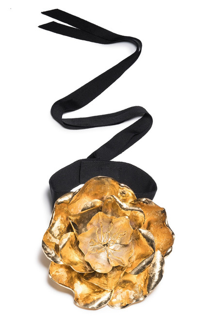 Buy Josie Natori Gold Plated Brass Large Peony Choker from