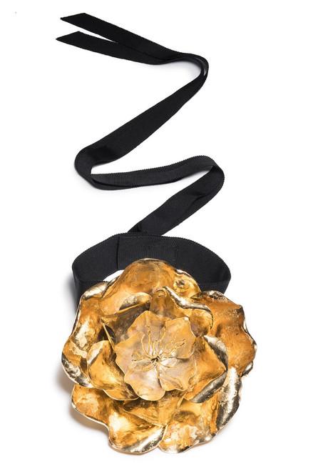 Josie Natori Gold Plated Brass Large Peony Choker at The Natori Company