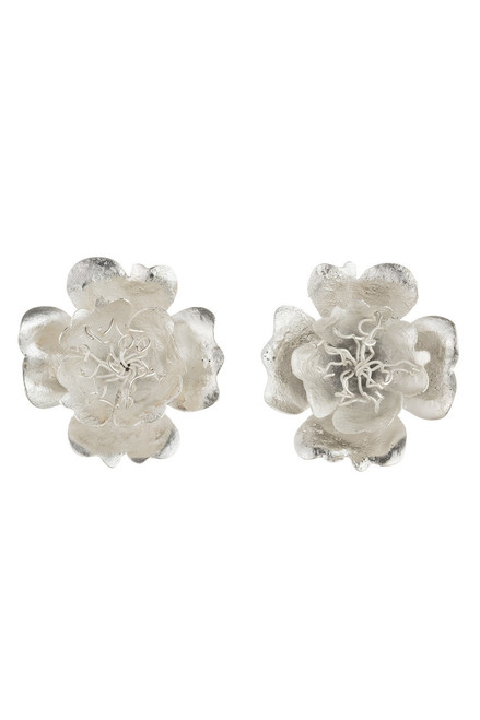 Josie Natori Silver Plated Brass Single Peony Earrings  at The Natori Company