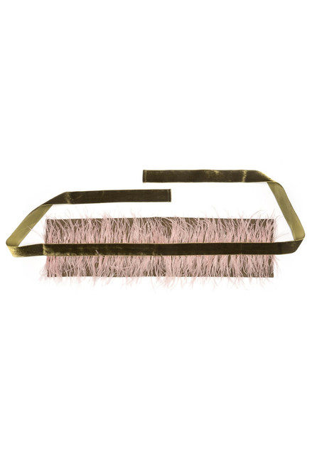 Josie Natori Stretch Twill Belt With Feathers at The Natori Company