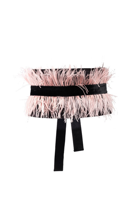 Josie Natori Duchess Satin Belt With Feathers at The Natori Company