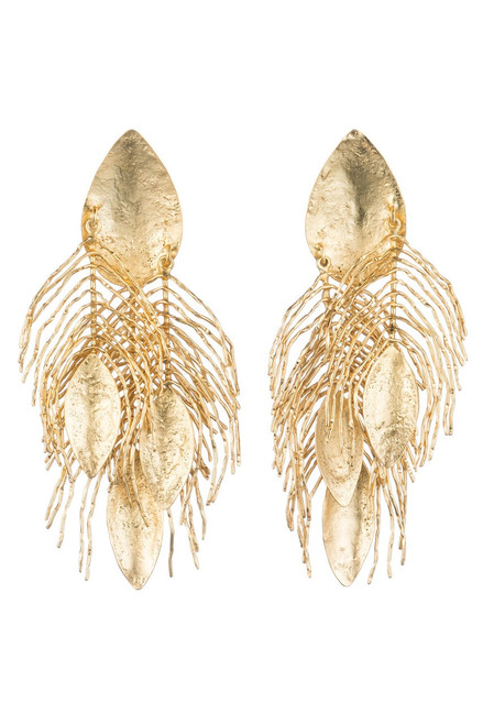 Buy Josie Natori 24K Gold Plated Brass Peacock Feather Earrings from