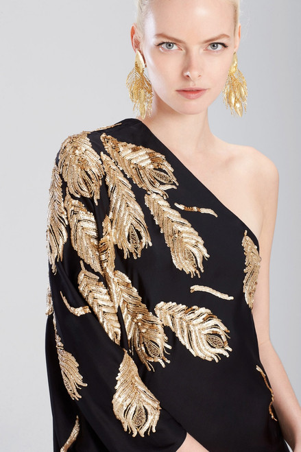 Josie Natori 24K Gold Plated Brass Peacock Feather Earrings at The Natori Company