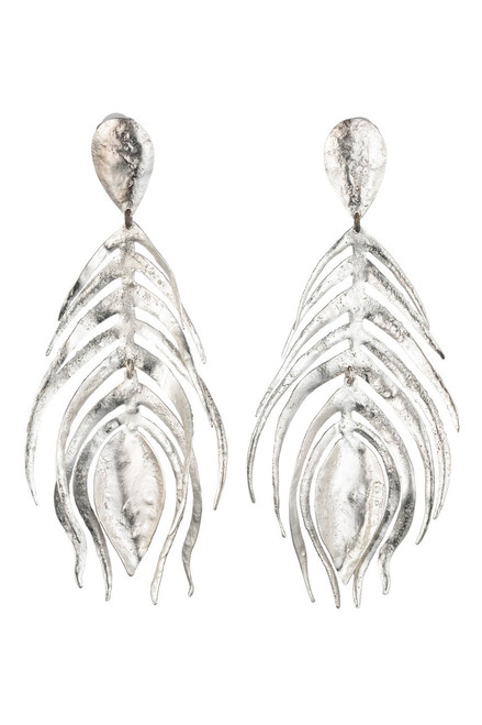 Buy Josie Natori Silver Plated Brass Peacock Feather Earrings from