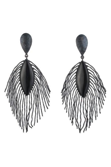 Josie Natori Oxidized Brass Peacock Feather Earrings at The Natori Company