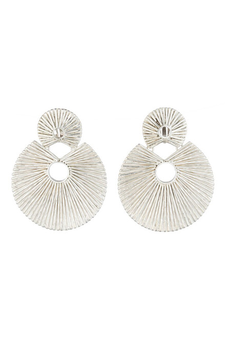 Josie Natori Silver Plated Brass Double Disc Earrings at The Natori Company