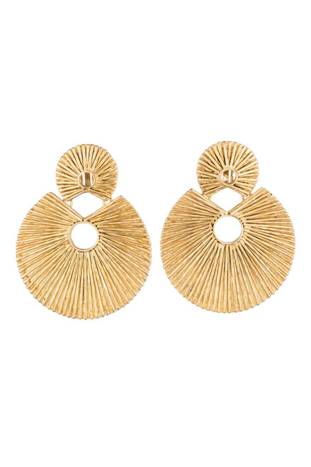 Josie Natori 24K Gold Plated Brass Double Disc Earrings at The Natori Company