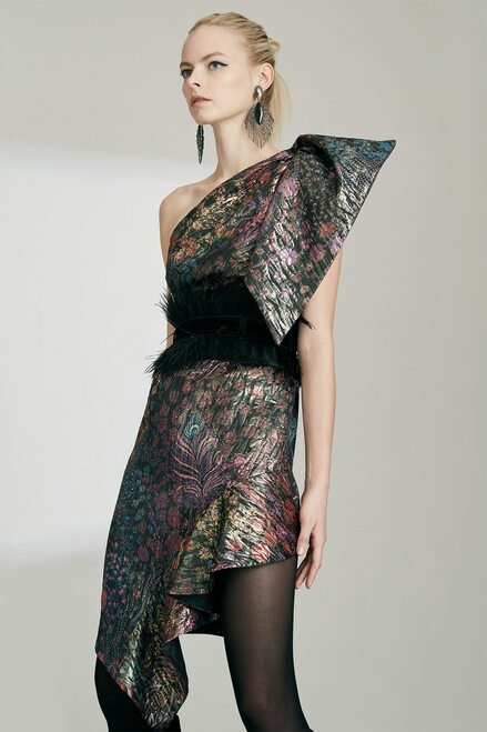 Josie Natori Bohemia Garden Jacquard One Shoulder Dress at The Natori Company
