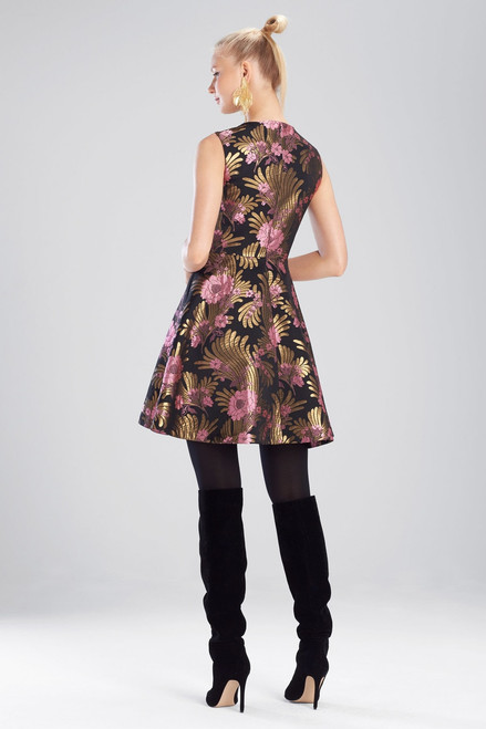 Josie Natori Deco Jacquard Fit and Flare Dress at The Natori Company