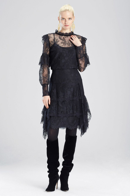 Buy Josie Natori Viscose Satin Long Sleeved Lace Top from