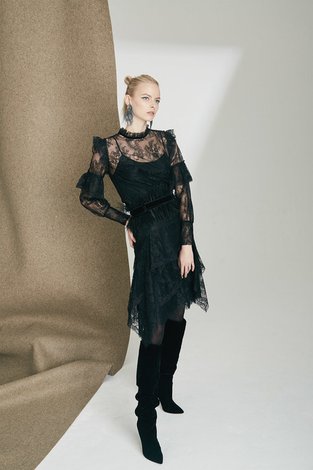 Josie Natori Viscose Satin Long Sleeved Lace Top at The Natori Company