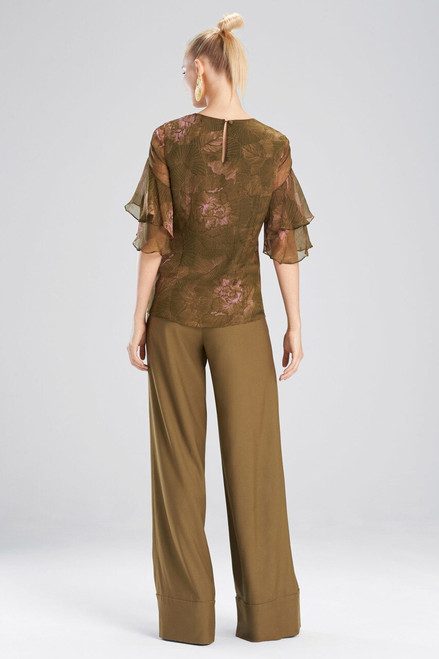 Josie Natori Primrose Silk Chiffon Tiered Sleeve Top at The Natori Company