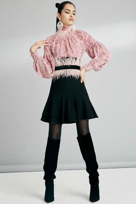 Josie Natori Knit Crepe Ruffle Hem Skirt at The Natori Company
