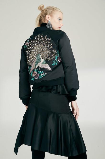 Josie Natori Tuxedo Satin Ruffle Skirt at The Natori Company