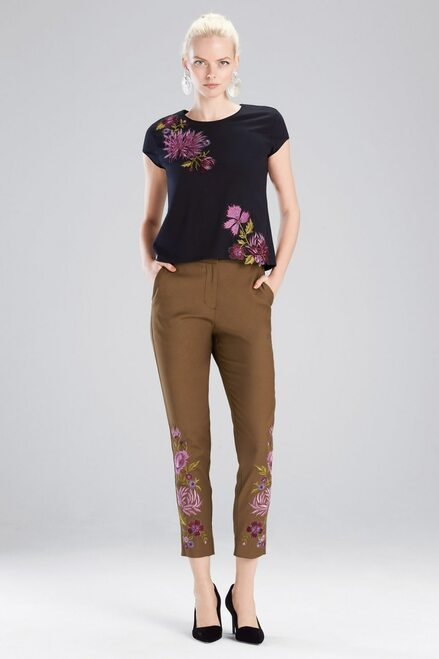 Buy Josie Natori Stretch Twill Embroidered Pants from