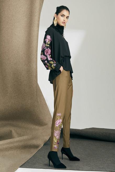 Josie Natori Stretch Twill Embroidered Pants at The Natori Company