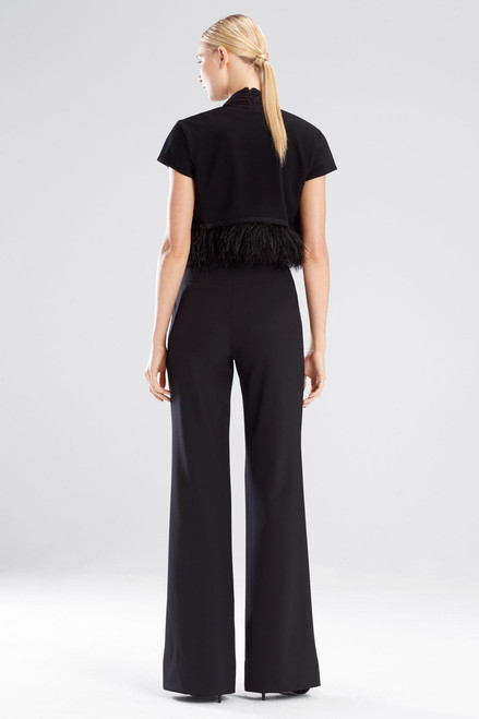 Josie Natori Knit Crepe Bolero With Feathers at The Natori Company