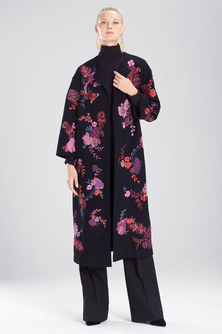 Josie Natori Felt Wool Embroidered Jacket at The Natori Company