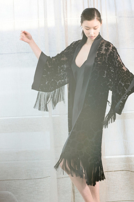Josie Natori Oriental Poppy Burnout Robe at The Natori Company