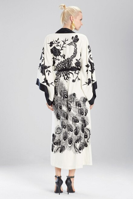Josie Natori Couture Black Peacock Robe at The Natori Company
