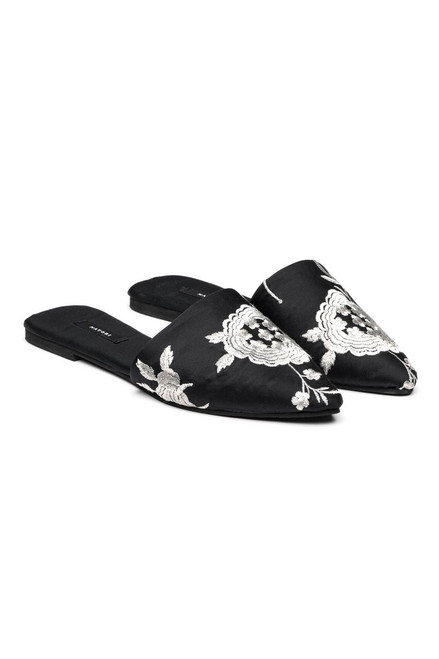Buy Natori Satin Embroidered Mules from