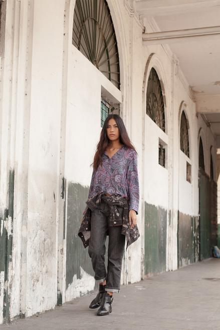 Josie Nomad PJ Shorts Set Charcoal/Pink at The Natori Company